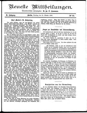 Neueste Mittheilungen vom 21.10.1890