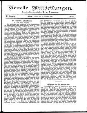 Neueste Mittheilungen vom 28.10.1890