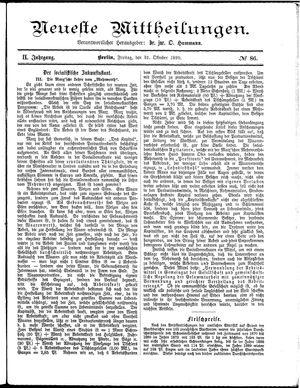 Neueste Mittheilungen vom 31.10.1890