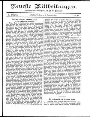 Neueste Mittheilungen vom 04.11.1890