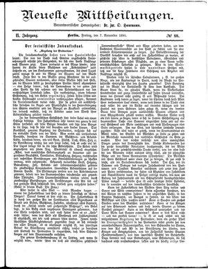 Neueste Mittheilungen vom 07.11.1890