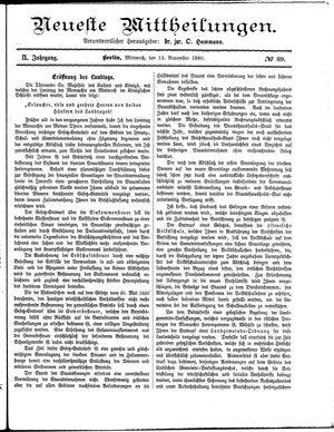 Neueste Mittheilungen vom 12.11.1890