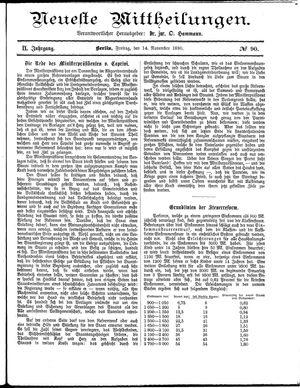 Neueste Mittheilungen vom 14.11.1890