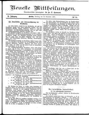 Neueste Mittheilungen vom 18.11.1890