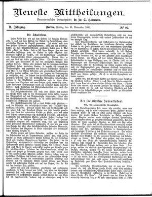 Neueste Mittheilungen vom 21.11.1890