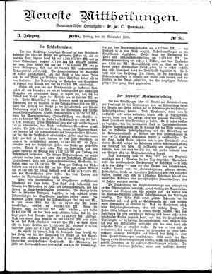 Neueste Mittheilungen vom 28.11.1890