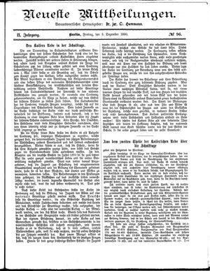 Neueste Mittheilungen vom 05.12.1890