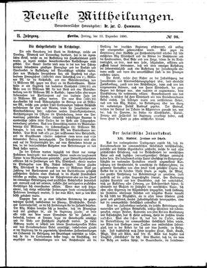 Neueste Mittheilungen vom 12.12.1890