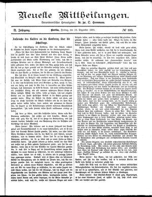 Neueste Mittheilungen vom 19.12.1890