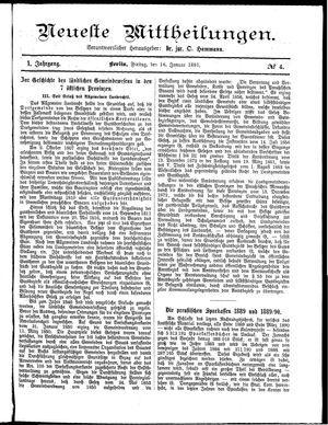 Neueste Mittheilungen vom 16.01.1891
