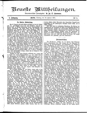 Neueste Mittheilungen vom 20.01.1891