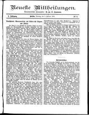 Neueste Mittheilungen vom 03.02.1891