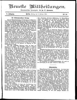 Neueste Mittheilungen vom 06.02.1891