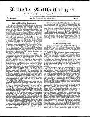 Neueste Mittheilungen vom 13.02.1891