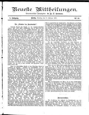 Neueste Mittheilungen vom 17.02.1891