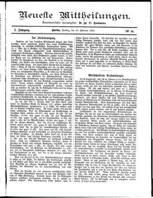 Neueste Mittheilungen on Feb 20, 1891