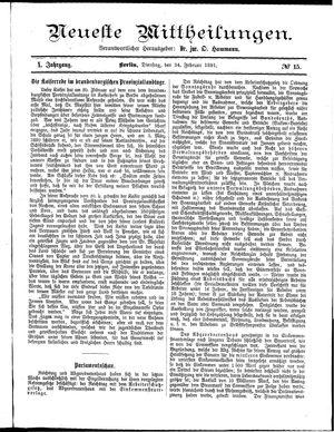 Neueste Mittheilungen vom 24.02.1891