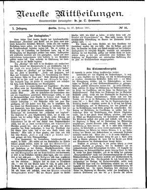 Neueste Mittheilungen vom 27.02.1891