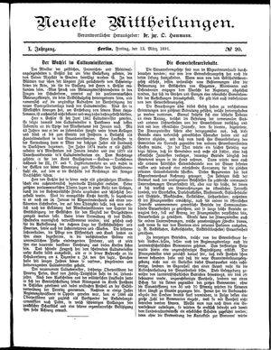 Neueste Mittheilungen vom 13.03.1891