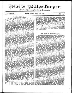 Neueste Mittheilungen vom 01.04.1891