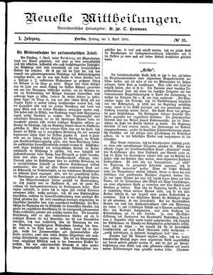 Neueste Mittheilungen vom 03.04.1891