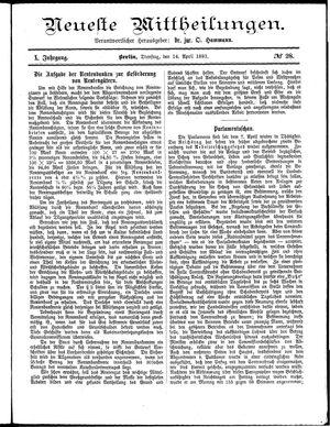 Neueste Mittheilungen vom 14.04.1891