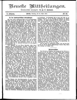 Neueste Mittheilungen vom 21.04.1891