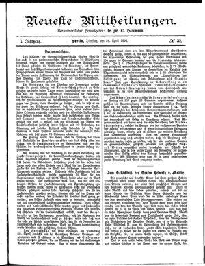 Neueste Mittheilungen vom 28.04.1891