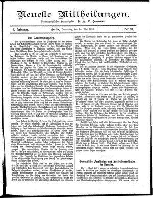 Neueste Mittheilungen vom 14.05.1891