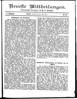 Neueste Mittheilungen vom 26.05.1891
