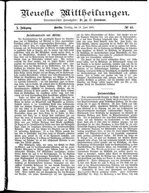 Neueste Mittheilungen vom 16.06.1891