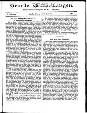 Neueste Mittheilungen vom 23.06.1891