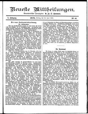 Neueste Mittheilungen vom 26.06.1891