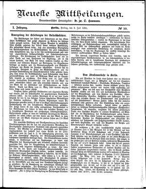 Neueste Mittheilungen vom 03.07.1891