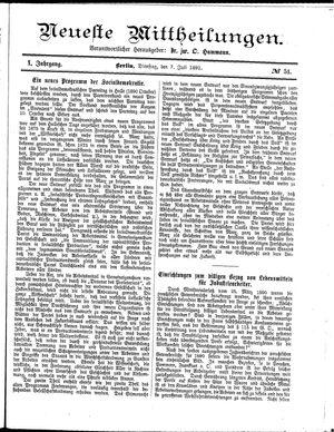 Neueste Mittheilungen vom 07.07.1891