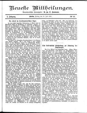 Neueste Mittheilungen vom 10.07.1891