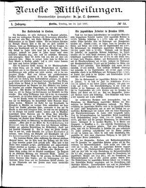 Neueste Mittheilungen vom 14.07.1891