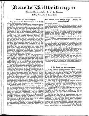 Neueste Mittheilungen vom 09.01.1893