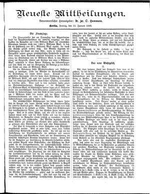 Neueste Mittheilungen vom 13.01.1893