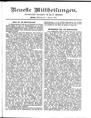 Neueste Mittheilungen on Feb 1, 1893