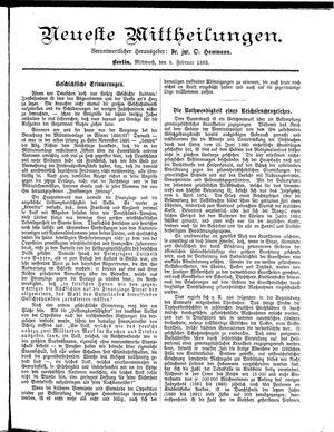 Neueste Mittheilungen vom 08.02.1893