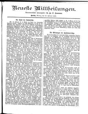 Neueste Mittheilungen vom 20.02.1893