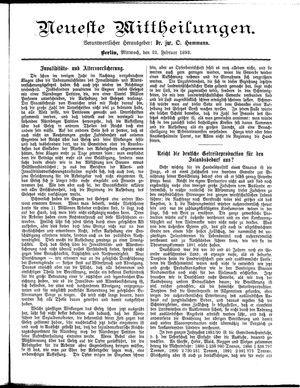 Neueste Mittheilungen vom 22.02.1893