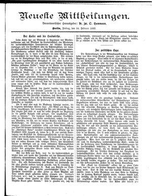 Neueste Mittheilungen vom 24.02.1893