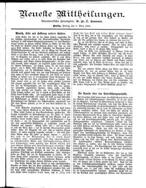 Neueste Mittheilungen vom 03.03.1893