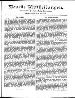 Neueste Mittheilungen vom 08.03.1893
