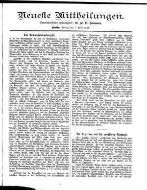 Neueste Mittheilungen vom 07.04.1893