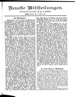 Neueste Mittheilungen vom 10.04.1893
