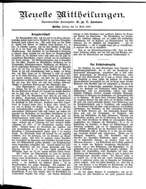 Neueste Mittheilungen vom 14.04.1893