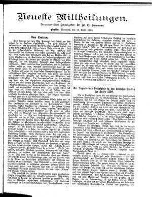 Neueste Mittheilungen vom 19.04.1893